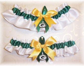 Green Bay Packers Wedding Garter Set with charms    Handmade  Keepsake and Toss   Satin W-FGF