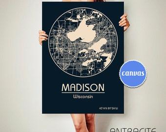 MADISON Wisconsin CANVAS Map Madison Wisconsin Poster City Map Madison Wisconsin Art Print Madison Wisconsin