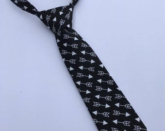 Boys Neck Tie, Infant Tie, Toddler Neck Tie, Black and White Arrow Neck Tie, Baby Neck Tie