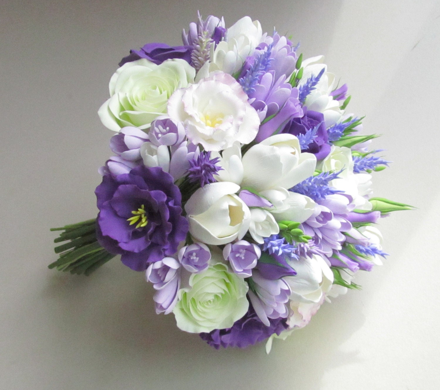 Wedding Flowers Lilac: Freesia Eustoma Tulip Rose Lavender Bridal Bouquet. Lilac