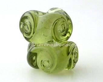 European Charm TWISTED OLIVE GREEN Handmade Lampwork Glass Bead Pair taneres