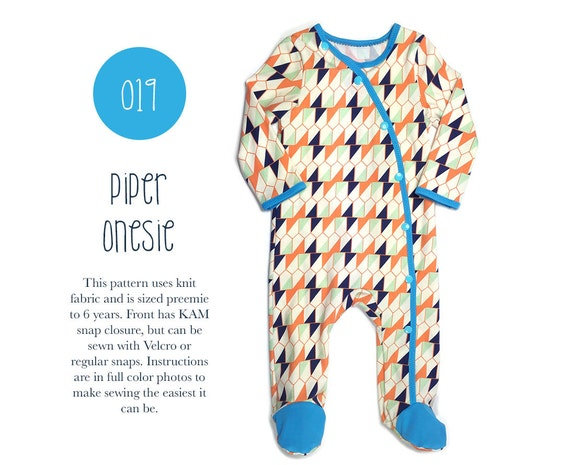 019 Piper Footed Onesie PDF Sewing Pattern Baby Kid Knit Unisex ...