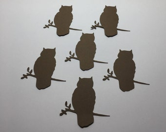 30 Die Cut Owl on a Tree Branch Silhouette  Cut Out