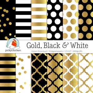 Gold Foil Digital Paper - Gold Black & White, gold glam dots stripes confetti moroccan trellis faux gold photography backdrop printable 8070