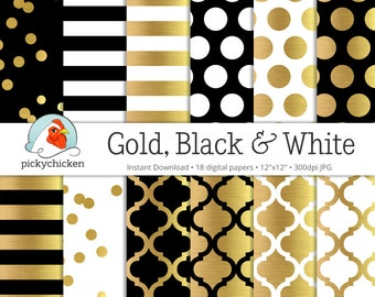 Gold Foil Digital Paper - Gold Black & White, gold glam dots stripes confetti moroccan trellis faux gold photography backdrop printable 8070