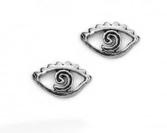 Earrings Small Silver Eye 925