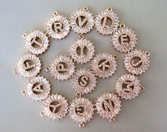 Rose Gold Plated CZ Micro Pave Letter Brass Pendants, Cubic Zirconia Charms - CZ50