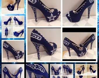 Custom Dallas Cowboys Heels, Cowboy heels, Dallas Cowboys Rhinestone Heels, Stilettos,Pumps,Cowboys Platform heels,Cowboys Blue Stilettos