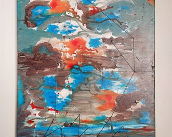 "ABSTRACT - ""houses on stilts"" - 40X50CM painting - acrylic paint and watoji (Japanese binding)"