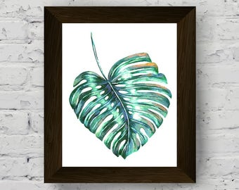 monstera leaf, palm leaf print, tropical wall art, botanical watercolor, plant poster, modern wall art prints, instant digital download