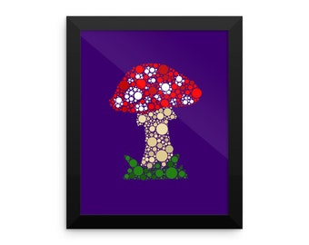 Framed Toadstool Print in Purple / Cute home decor / Kawaii / Gift for sister /  Mothers Day / Cute Wall Art / Cute Art Print / Cute Dorm De