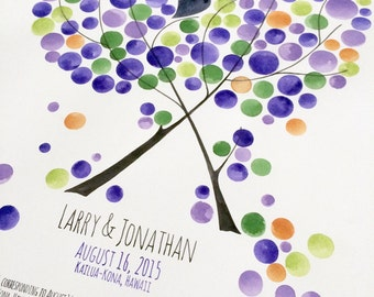 Ketubah Watercolor Painting - Custom text and calligraphy Jewish Weddings Ketubah Marriage certificate - TWO TREES as ONE