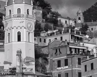 Fine Art Photography, Vernazza, Cinque Terre, Italy, clock tower, black and white, 8x12