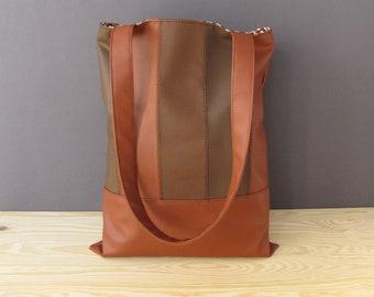 Brown Vegan Shoulder Bag | Brown Leatherette Bag | Brown Faux Leather Bag | Office Bag | Recycled Shoulder Bag | Brown A4 Bag | School Bag