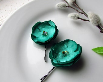 2 Green Silk Fabric Hair Flowers, Satin Floral Hair Clip Jade Green Bridesmaid Wedding Shoe, Small Silk Floral hair Pins , with Gold beads