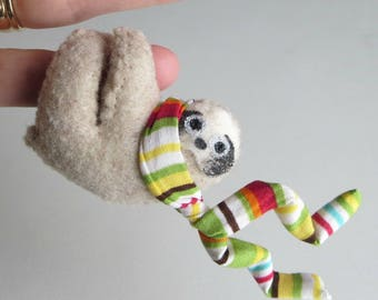Sloth hugger miniature felt stuffed animal with flying stripe scarf and bendable legs rain forest animal Active