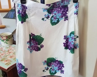 Pretty Purple Floral Half Apron, Vintage Cotton Print