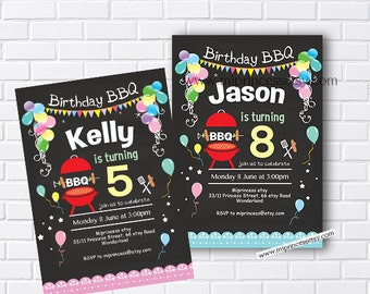 BBQ, birthday invitation, chalkboard invite, bbq invite, bbq invitation, birthday bbq, kids party invite, any age invitation - card 643