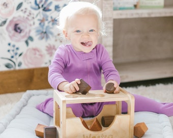 Wooden Shape Sorter - Montessori Inspired Sorting Toy for Toddlers
