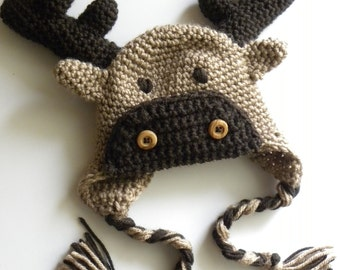 CROCHET PATTERN -  Moose or Reindeer Crochet Hat w/permission to sell finished items