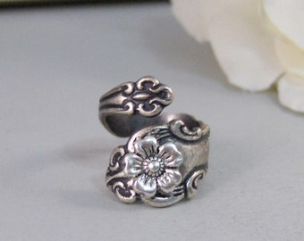 Blossom Flower,Ring,Silver,Spoon,Spoon Ring,Blossom,Flower,Antique Ring,Silver Ring,Wrapped,Adjustable,Bridesmaid.by valleygirldesigns.