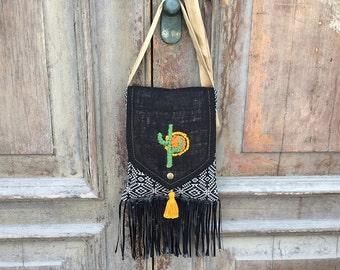 Slouchy hobo bag / gypsy festival bag / hippie sling bag/ boho with tassel ba /fringe bag/ vegan hobo bag/ festival bag/ cross body hobo bag