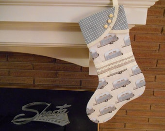 Christmas Stocking with Vintage Airstream Trailer Print