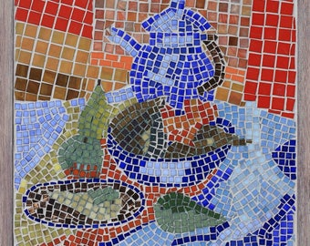 Still life with pears painting mosaic 53x63cm