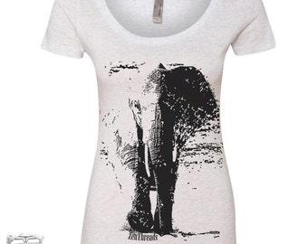 Womens Elephant TriBlend Scoop Neck Tee - T Shirt S M L XL XXL (+ Colors)