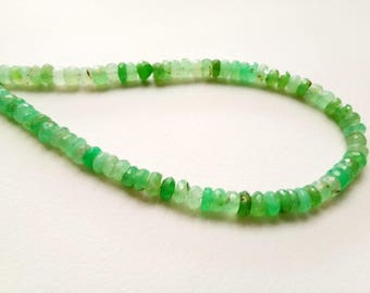 10 Inch Chrysoprase Faceted Rondelle Beads, 6mm Natural Green Chrysoprase Beads, Chrysoprase Necklace - AG5031