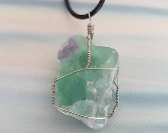 Wire wrapped Raw Fluorite
