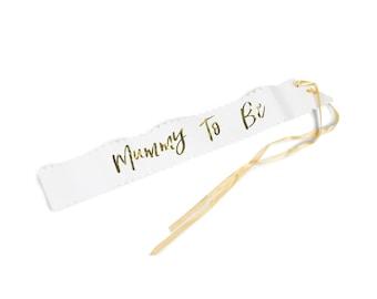 Mummy To Be Sash, Baby Shower Sash, Baby Shower Mom, Baby Decor, Gender Reveal Sash, Gold Script Sash, Baby Gold Script