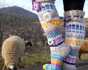 Over the Knee Socks, Knee High Socks, Knit Knee Socks,Handmade Wool Socks and Leg Wormers, Model: WENDY