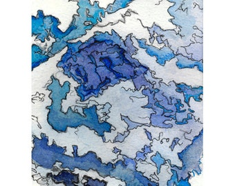 Abstract watercolor print, small modern wall art, blue white, Hyperborea 3 (I Like the Fjords)