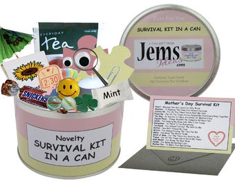 Mothers Day Survival Kit In A Can. Fun Gift & Card For Mum/Mom/Mam/Mummy/Mother. OTHER COLOURS AVAILABLE.