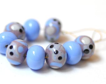 9 pcs Handmade Glass Lampwork Beads - purple heaven Dotted
