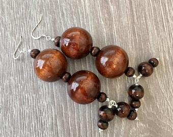 Wooden Earrings Wood Earrings Brown Earrings Tribal Earrings Funky Earrings Long Earrings Statement Earrings Boho Earrings Large Earrings