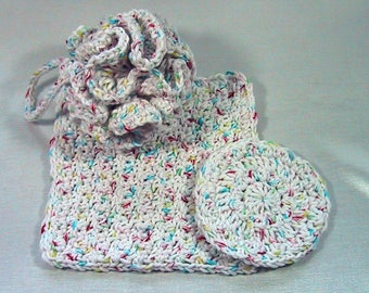 3 Piece Bath Set - Bath Puff, Face Cloth, Scrubbie - Crocheted - Cotton Yarn White Confetti - Pamper Yourself - Nice Gift Set Adult or Kids