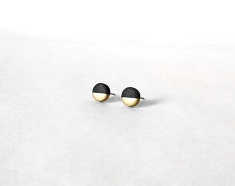 BLACK & GOLD Dipped Flat Circle Studs - Round Dot Geometric Geo Two Tone Modern Jewelry Simple Lightweight Small Dainty Hypoallergenic Gift