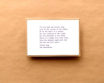 Les Miserables Typewriter Quote 6x4