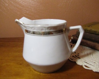 Vintage White and Gold Creamer - P.K. Silesia