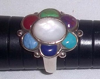 Ladies Vintage Sterling Silver Multi Stone Ring Sz. 6 - Turquoise Coral Lapis Sugilite Gaspeite