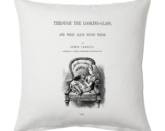 Through the Looking-Glass, and What Alice Found There Pillow Cover, Book pillow cover.