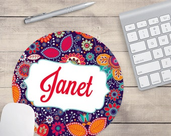 Purple Retro Mouse Pad, Red Orange Mouse Pad, Name On Mouse Pad, Monogram Mouse Pad, Personalized Mouse Pad (0017)