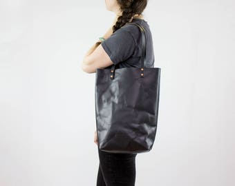 Leather Tote Bag - Black Leather Tote Purse - Veg Tan Leather Bag - Handmade - Leather Tote with Pockets - Leather Purse - Vegetable Leather
