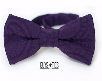 mens purple bow tie, purple wedding bow ties, purple paisley bow tie, paisley wedding bow ties, boys purple bow ties, wedding bow tie purple