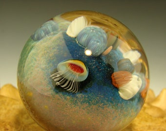 Amazing Coral Reef Glass Art Marble with Jellyfish Implosion Ocean Orb by Aaron Slater VGW