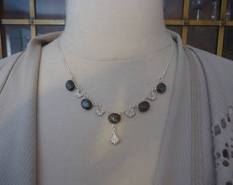 925 Sterling Silver and Labradorite Gemstone Bib Style Necklace, Adjustable