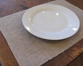 Rustic Natural Linen Placemat, French Country Home Decor, Farmhouse Decor, Wabi Sabi Modern Rustic Cabin Dining, Hand Woven Farm Table Mat