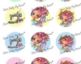 INSTANT DOWNLOAD 3D deco Printable Crafty Chicks Bottle Caps 1 Besties Big Head Dolls Digi By Sherri Baldy